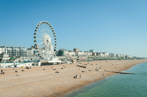Brighton beach front with a carousel